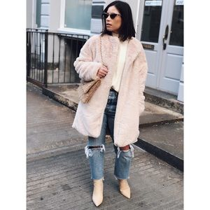 Jackets & Blazers - Lexi Natural Nude Faux Fur Jacket